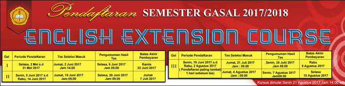 Pendaftaran English Extension Course Semester Gasal 2017/2018 :: usd.ac.id