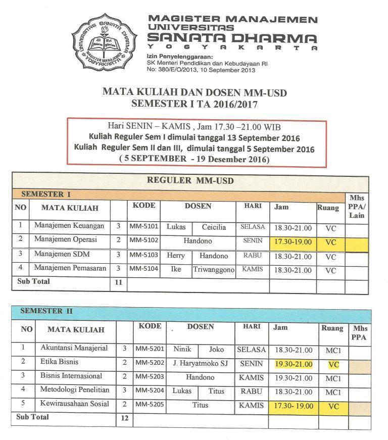 Jadwal Kuliah Mm Usd Sem I Ta 2016 2017 Fakultas Ekonomi Usd