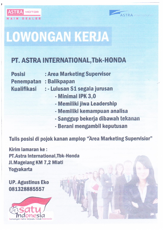 F Psikologi Usd Lowongan Area Marketing Supervisor Astra